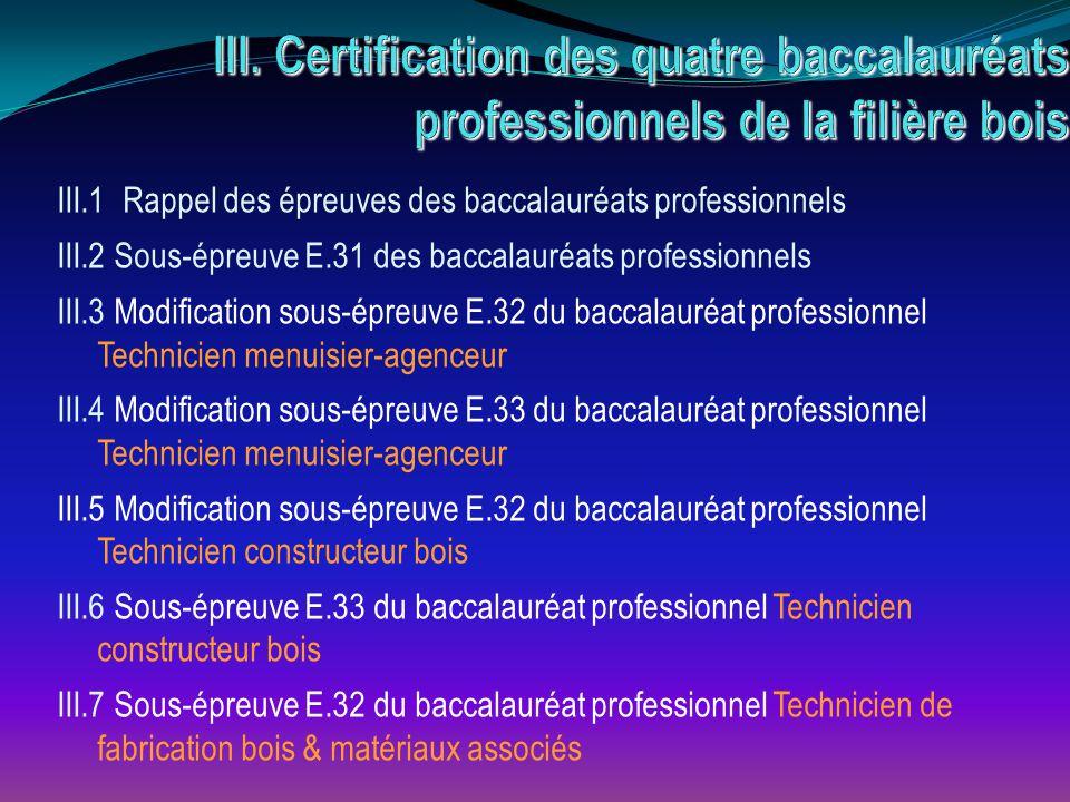 III.1 Rappel des épreuves des baccalauréats professionnels III.2 Sous-épreuve E.31 des baccalauréats professionnels III.3 Modification sous-épreuve E.