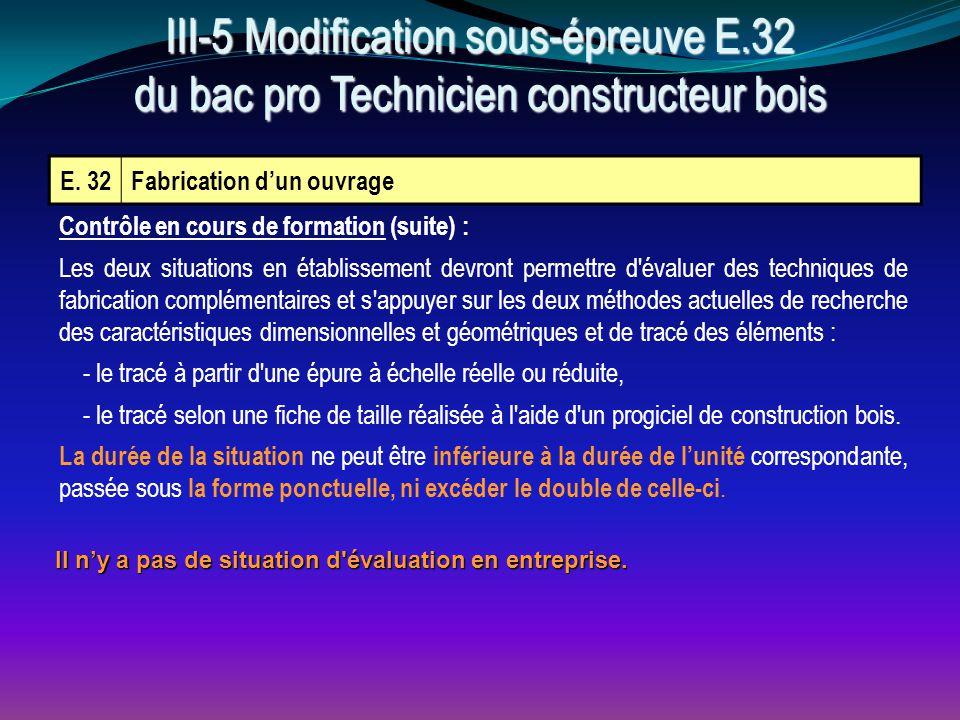 E. 32Fabrication d'un ouvrage Contrôle en cours de formation (suite) : Les deux situations en établissement devront permettre d'évaluer des techniques