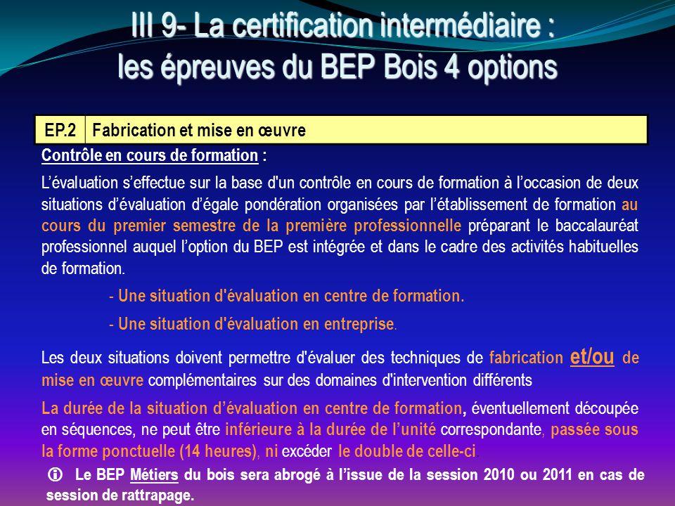 EP.2 Fabrication et mise en œuvre Contrôle en cours de formation : L'évaluation s'effectue sur la base d'un contrôle en cours de formation à l'occasio