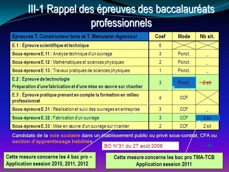 III 9- La certification intermédiaire : les épreuves du BEP Bois 4 options III 9- La certification intermédiaire : les épreuves du BEP Bois 4 options EpreuvesCoefModeNb sit.ModeDurée EP1 - Étude technologique et préparation 4CCF1 sit.