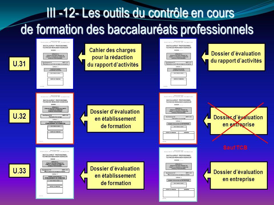 U.31 U.32 U.33 Cahier des charges pour la rédaction du rapport d'activités Dossier d'évaluation du rapport d'activités Dossier d'évaluation en entrepr
