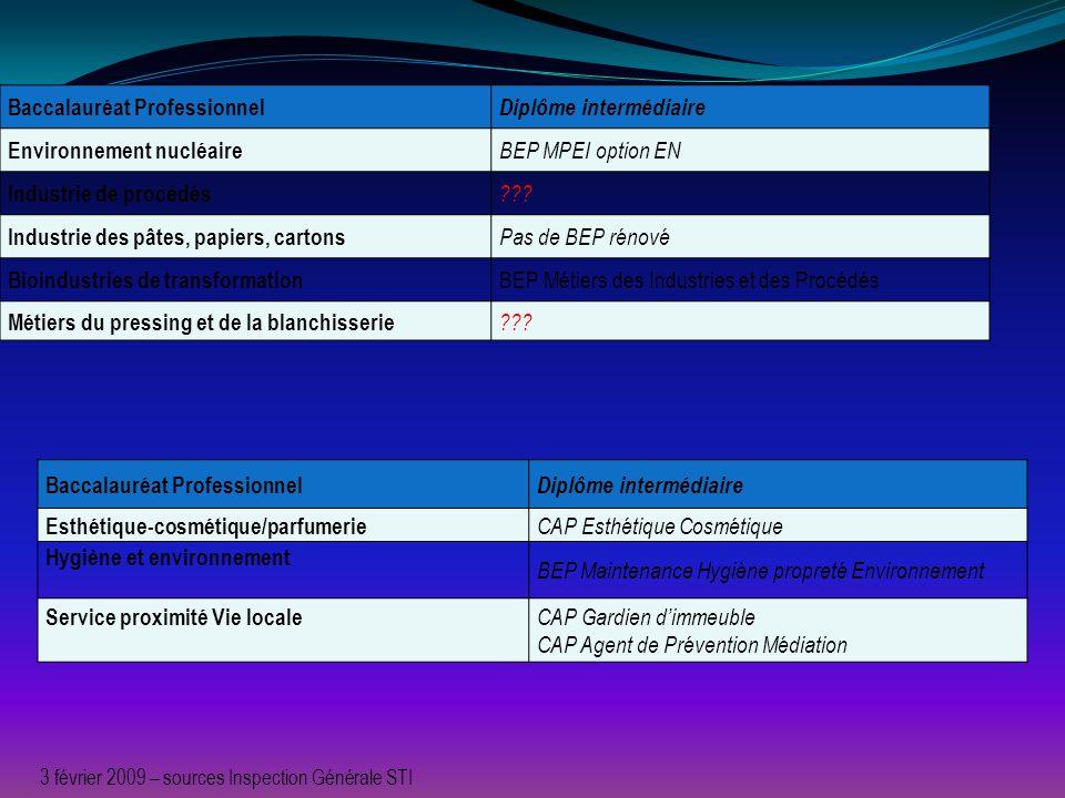 Baccalauréat Professionnel Diplôme intermédiaire Environnement nucléaire BEP MPEI option EN Industrie de procédés ??? Industrie des pâtes, papiers, ca