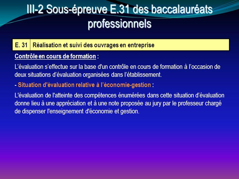 E. 31Réalisation et suivi des ouvrages en entreprise III-2 Sous-épreuve E.31 des baccalauréats professionnels Contrôle en cours de formation : L'évalu