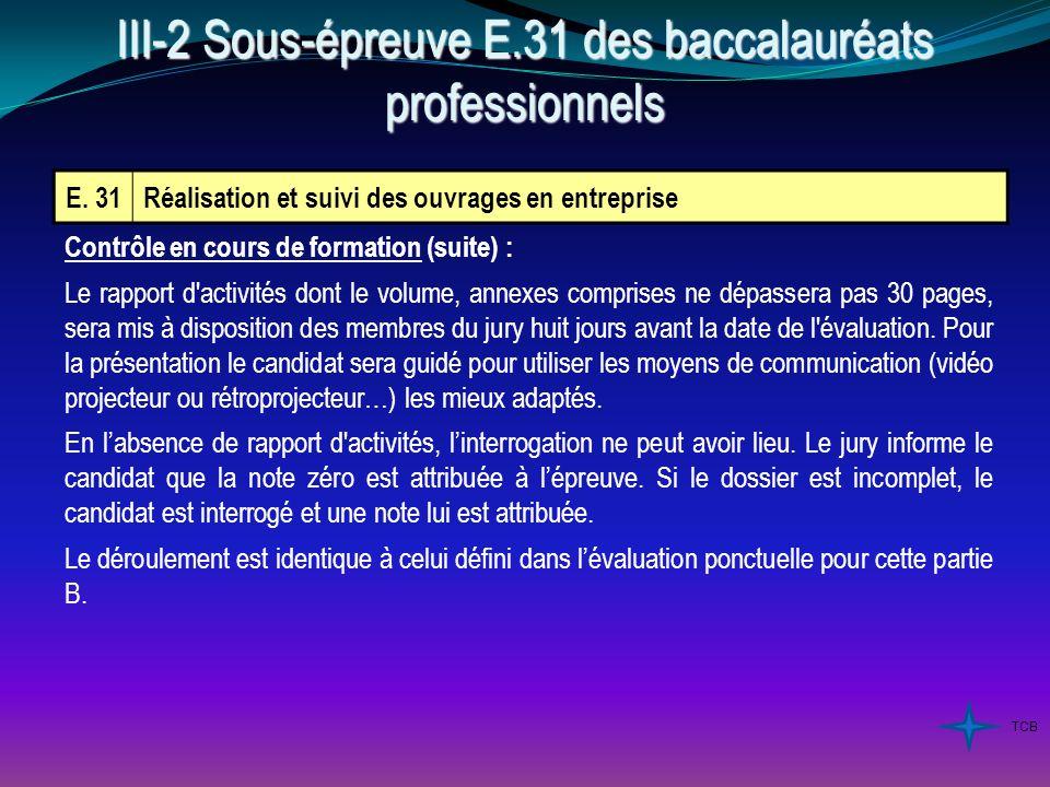 E. 31Réalisation et suivi des ouvrages en entreprise Contrôle en cours de formation (suite) : Le rapport d'activités dont le volume, annexes comprises
