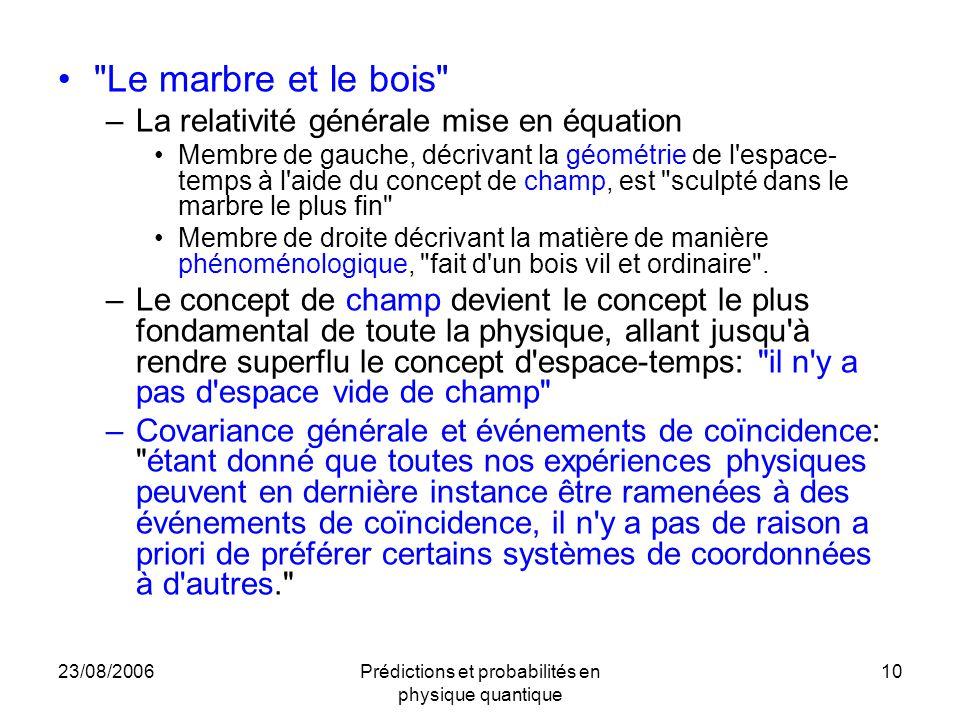 23/08/2006Prédictions et probabilités en physique quantique 10