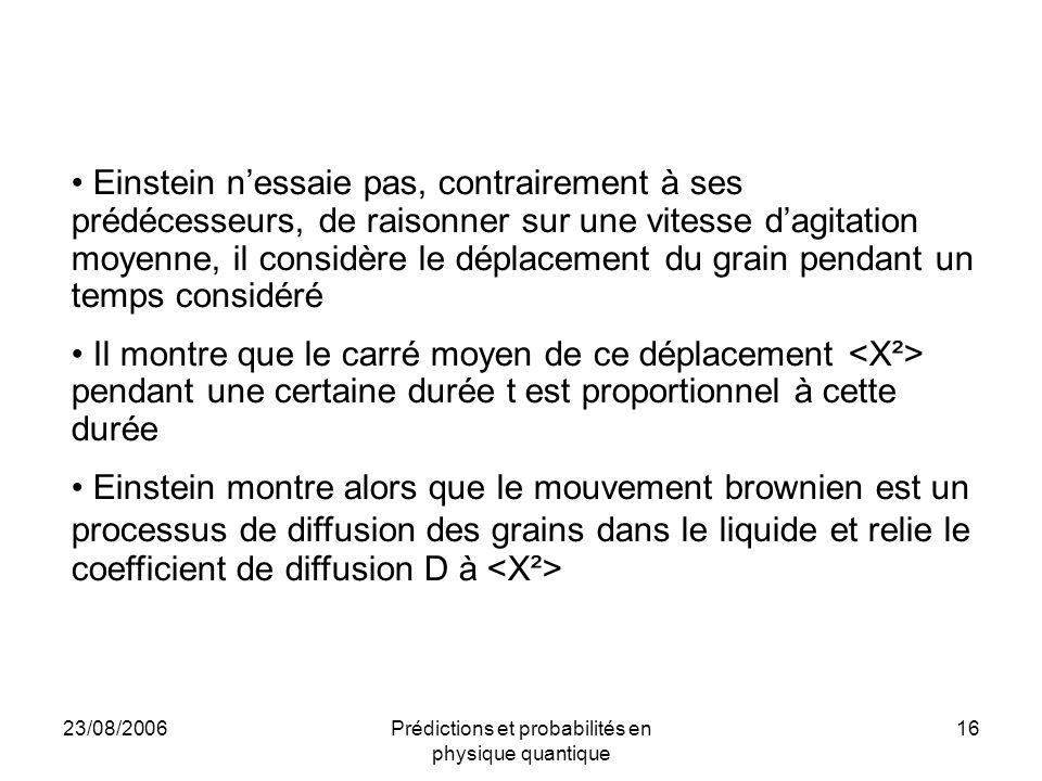 23/08/2006Prédictions et probabilités en physique quantique 16 Einstein n'essaie pas, contrairement à ses prédécesseurs, de raisonner sur une vitesse