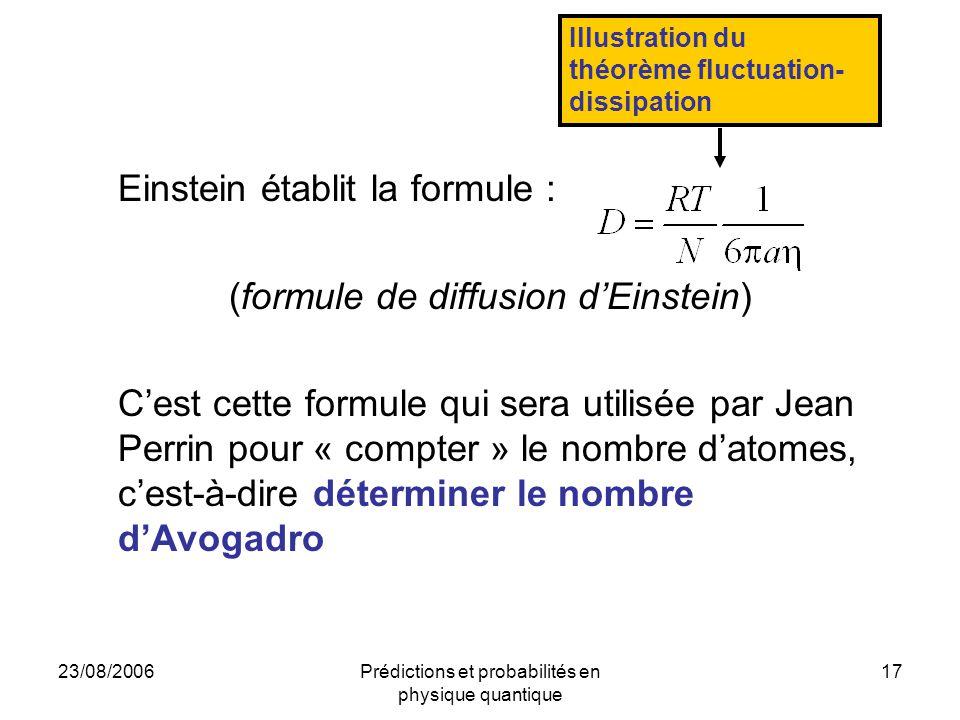 23/08/2006Prédictions et probabilités en physique quantique 17 Einstein établit la formule : (formule de diffusion d'Einstein) C'est cette formule qui sera utilisée par Jean Perrin pour « compter » le nombre d'atomes, c'est-à-dire déterminer le nombre d'Avogadro Illustration du théorème fluctuation- dissipation
