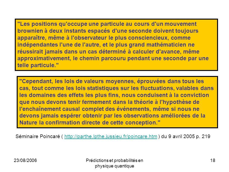 23/08/2006Prédictions et probabilités en physique quantique 18