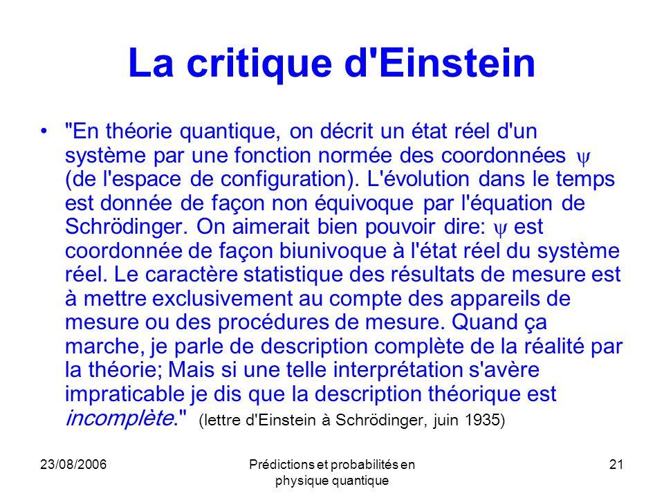 23/08/2006Prédictions et probabilités en physique quantique 21 La critique d Einstein En théorie quantique, on décrit un état réel d un système par une fonction normée des coordonnées  (de l espace de configuration).