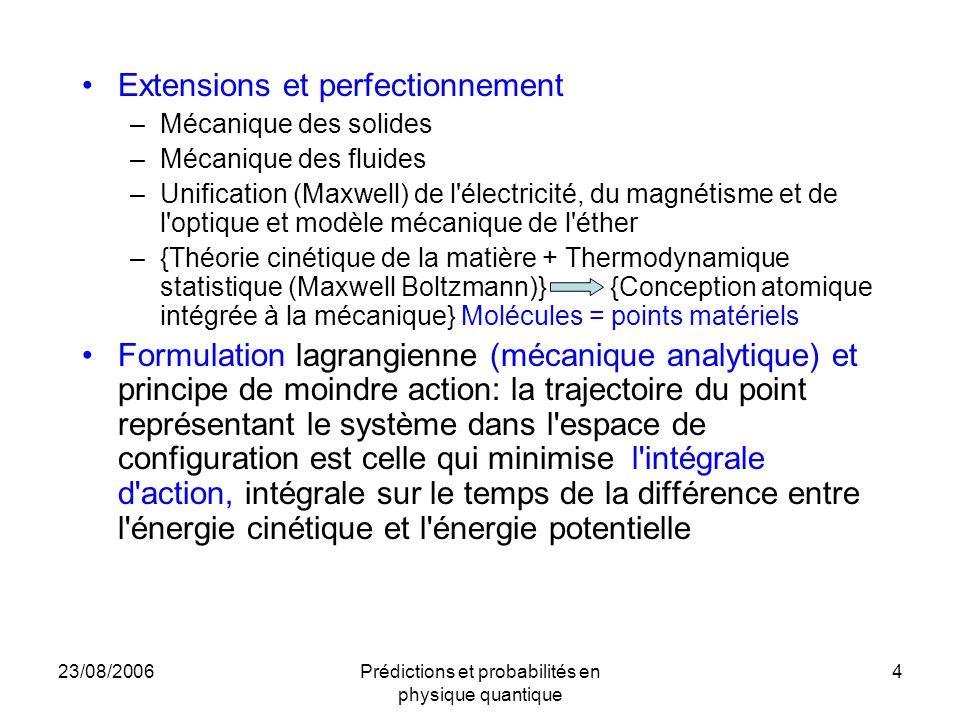 23/08/2006Prédictions et probabilités en physique quantique 5 Les problèmes de la théorie électromagnétique de Maxwell –Modèle de l éther peu crédible –Échec de l expérience de Michelson Morley L approche de Poincaré-Lorentz –Invariance de Lorentz des équations de Maxwell –Les transformations de Lorentz et les rotations forment un groupe La relativité de Poincaré –Principe de relativité et invariance de Lorentz –Théorie de l électron déformable, contraction réelle des longueurs et pression de l éther –Dualité temps vrai/temps local L extension relativiste