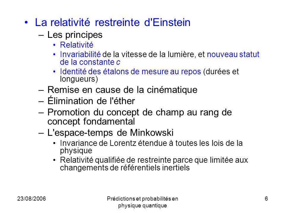 23/08/2006Prédictions et probabilités en physique quantique 6 La relativité restreinte d'Einstein –Les principes Relativité Invariabilité de la vitess