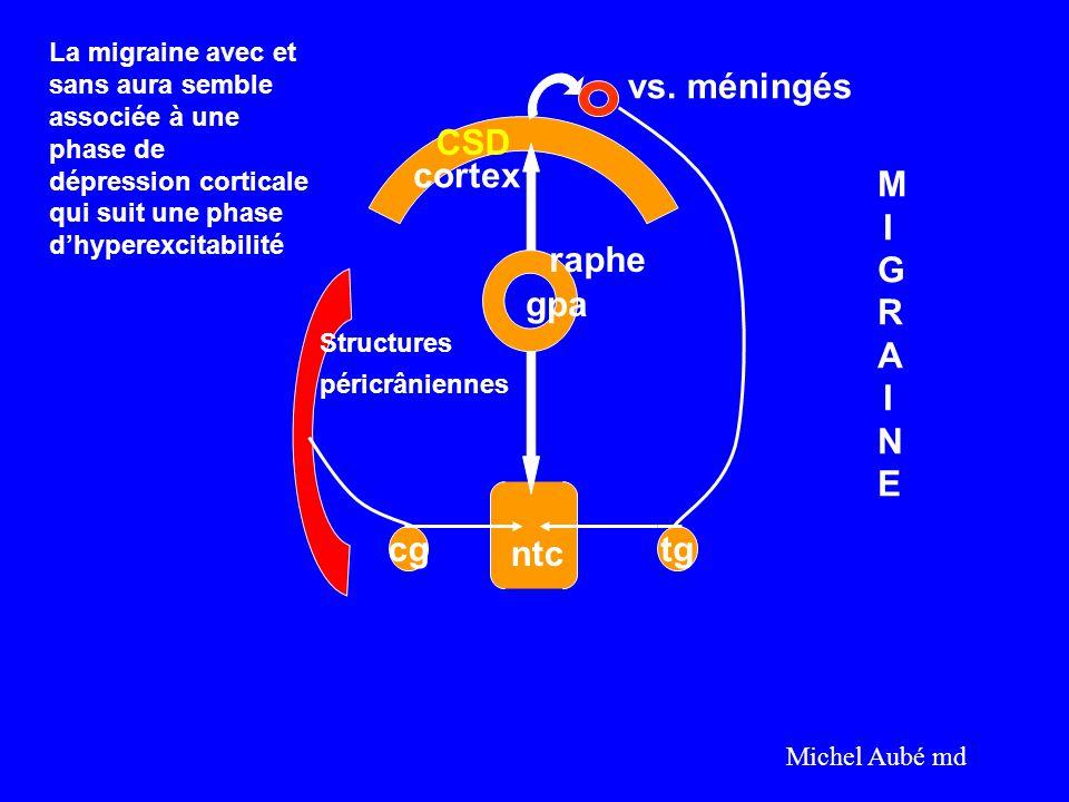cgtg cortex vs. méningés raphe gpa Structures péricrâniennes ntc MIGRAINEMIGRAINE Michel Aubé md CSD La migraine avec et sans aura semble associée à u