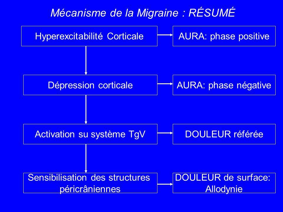 Hyperexcitabilité Corticale Dépression corticale Activation su système TgV Sensibilisation des structures péricrâniennes AURA: phase positive AURA: ph