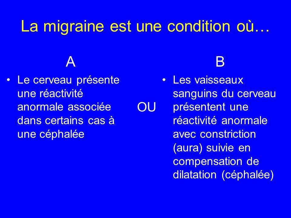 La migraine est une condition où… B Les vaisseaux sanguins du cerveau présentent une réactivité anormale avec constriction (aura) suivie en compensati
