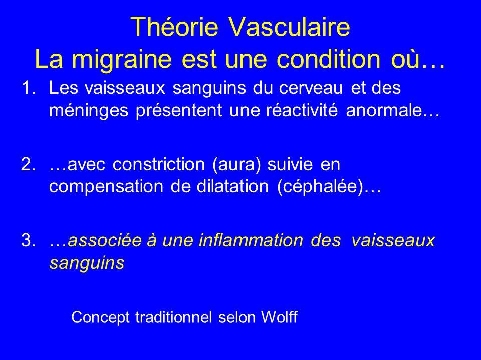Théorie Vasculaire La migraine est une condition où… 1.Les vaisseaux sanguins du cerveau et des méninges présentent une réactivité anormale… 2.…avec c
