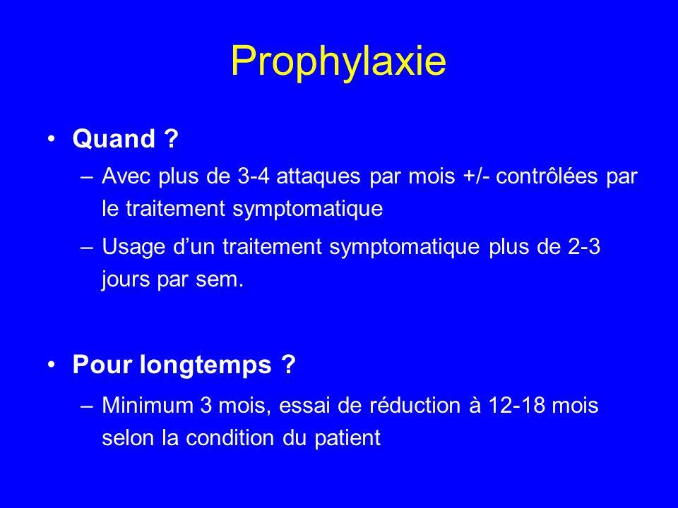 Prophylaxie Quand ? –Avec plus de 3-4 attaques par mois +/- contrôlées par le traitement symptomatique –Usage d'un traitement symptomatique plus de 2-
