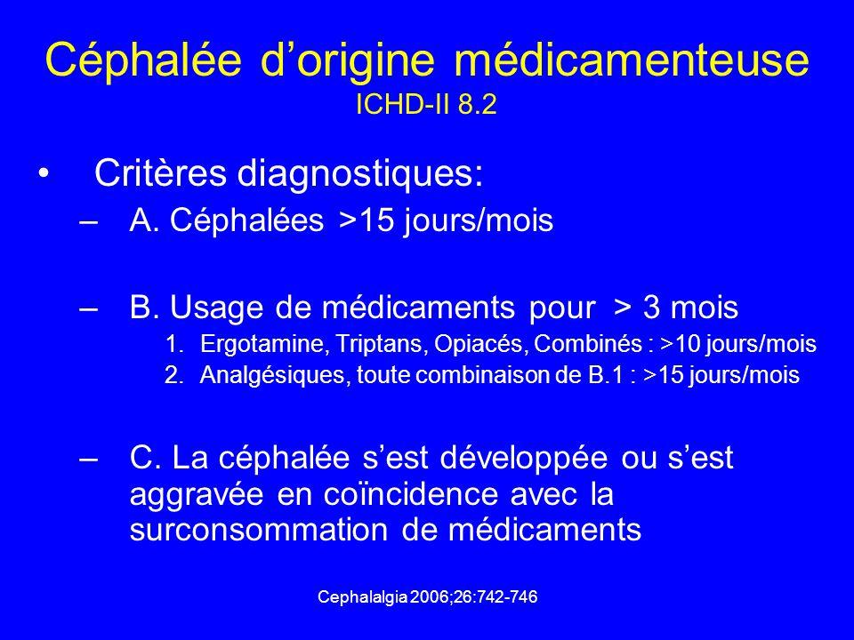 Cephalalgia 2006;26:742-746 Céphalée d'origine médicamenteuse ICHD-II 8.2 Critères diagnostiques: –A. Céphalées >15 jours/mois –B. Usage de médicament
