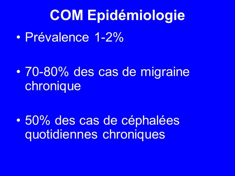 COM Epidémiologie Prévalence 1-2% 70-80% des cas de migraine chronique 50% des cas de céphalées quotidiennes chroniques