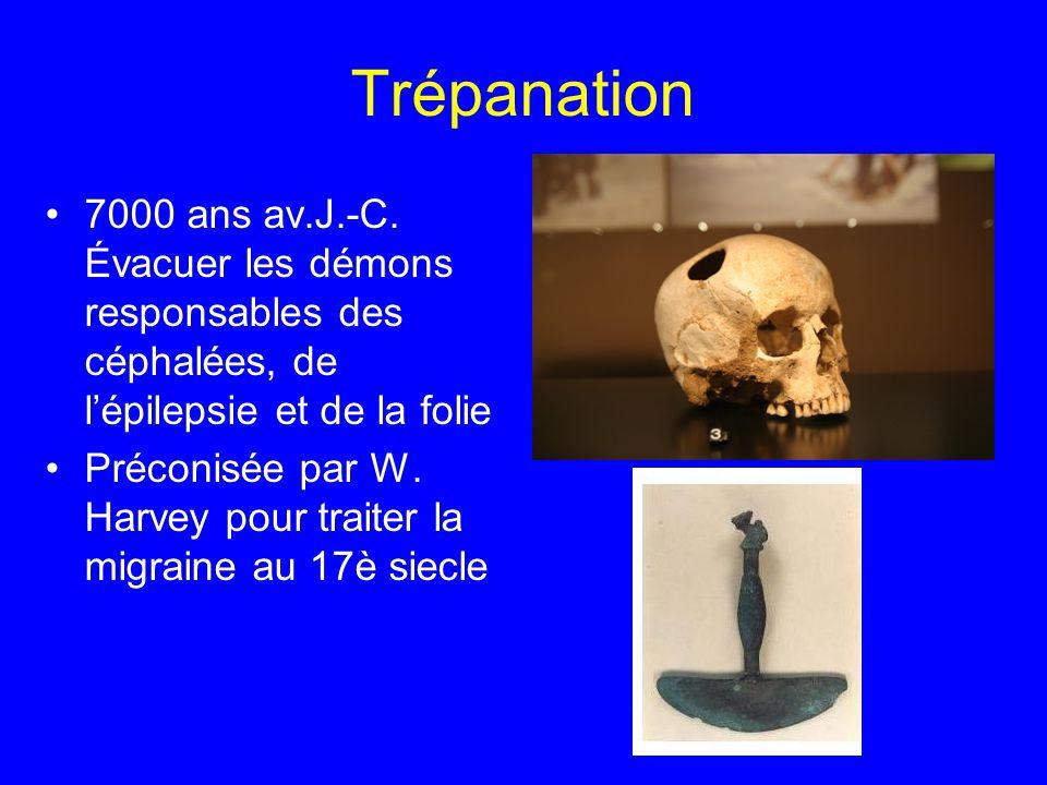 Trépanation 7000 ans av.J.-C. Évacuer les démons responsables des céphalées, de l'épilepsie et de la folie Préconisée par W. Harvey pour traiter la mi