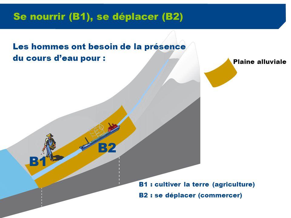 3 Se nourrir (B1), se déplacer (B2) Plaine alluviale B1 B2 B1 : cultiver la terre (agriculture) B2 : se déplacer (commercer) Les hommes ont besoin de