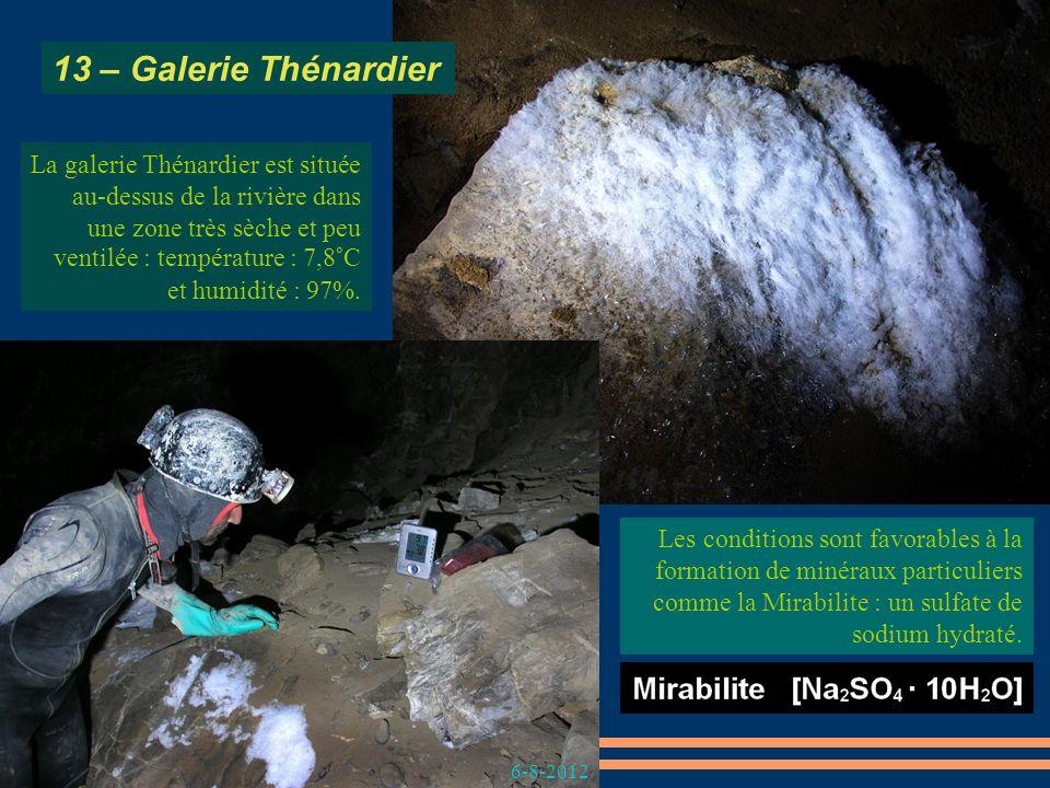Thénardite de la galerie Thénardier. Les conditions sont favorables à la formation de minéraux particuliers comme la Mirabilite : un sulfate de sodium