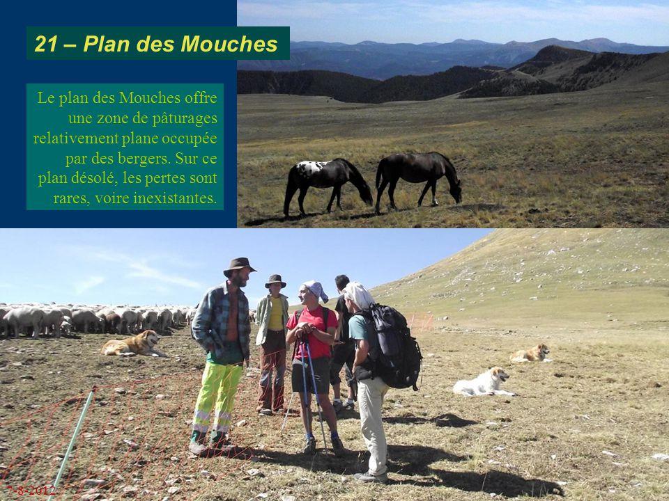 21 – Plan des Mouches Le plan des Mouches offre une zone de pâturages relativement plane occupée par des bergers. Sur ce plan désolé, les pertes sont
