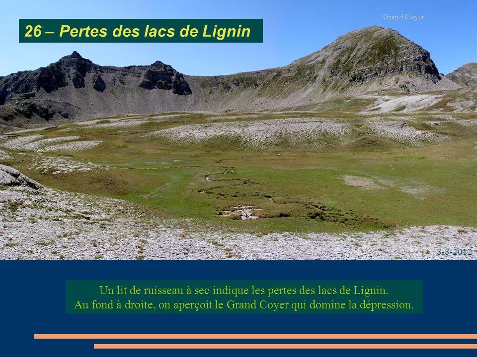 Un lit de ruisseau à sec indique les pertes des lacs de Lignin. Au fond à droite, on aperçoit le Grand Coyer qui domine la dépression. 26 – Pertes des