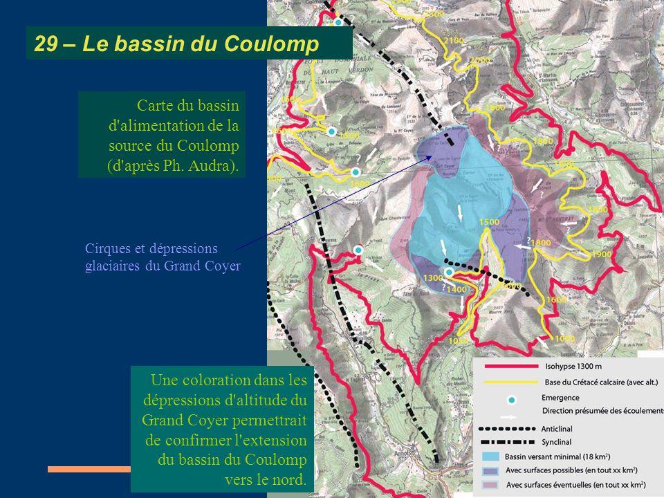 Carte du bassin d'alimentation de la source du Coulomp (d'après Ph. Audra). 29 – Le bassin du Coulomp Cirques et dépressions glaciaires du Grand Coyer