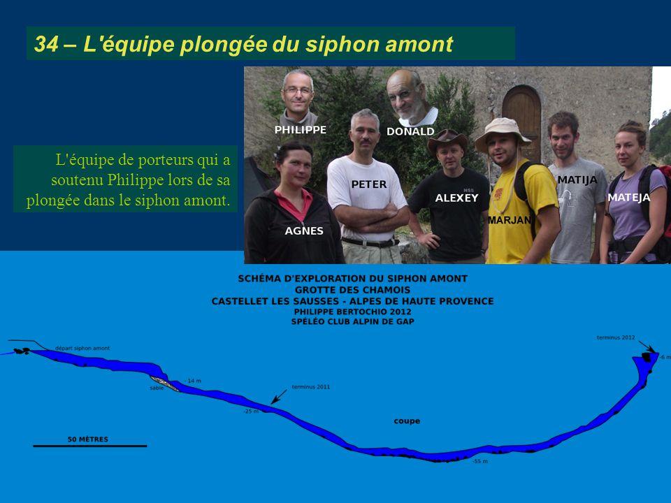 L'équipe de porteurs qui a soutenu Philippe lors de sa plongée dans le siphon amont. 34 – L'équipe plongée du siphon amont