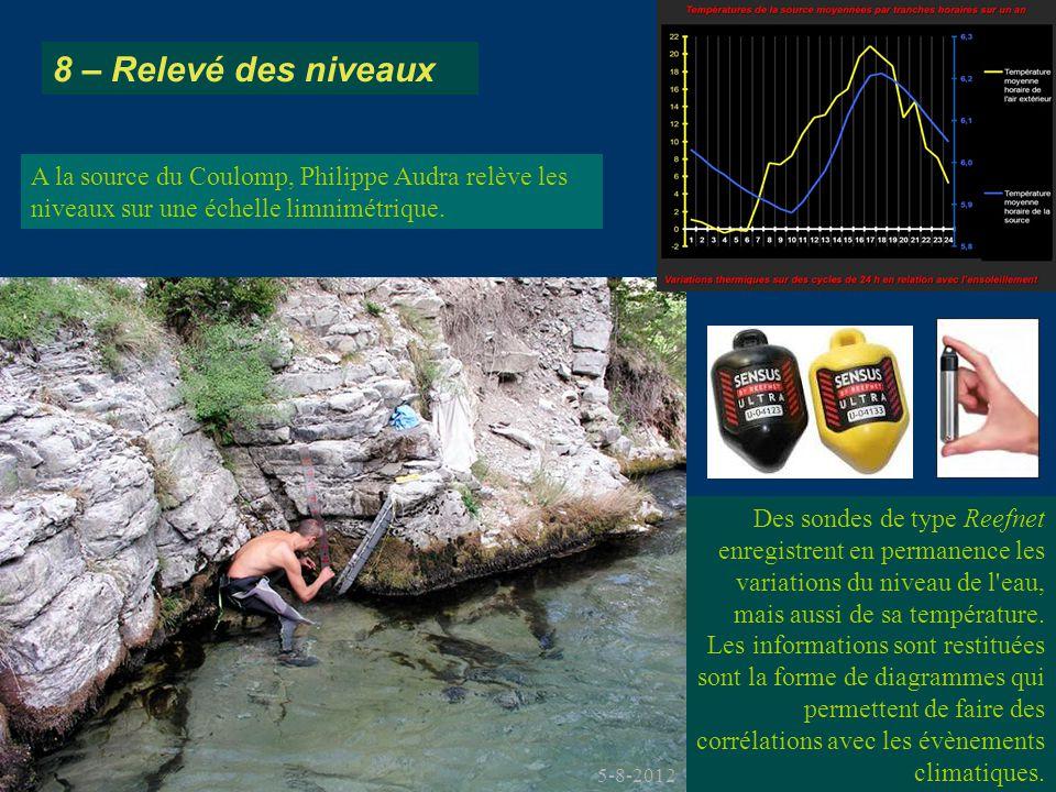 A la source du Coulomp, Philippe Audra relève les niveaux sur une échelle limnimétrique. 8 – Relevé des niveaux Des sondes de type Reefnet enregistren