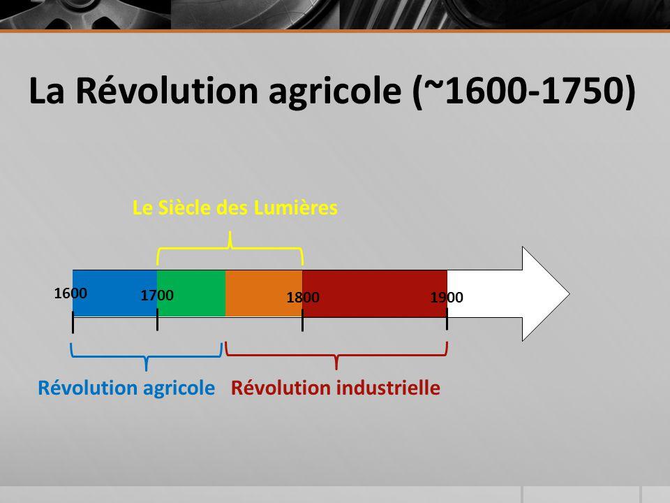 La Révolution agricole (~1600-1750) 1900 Le Siècle des Lumières Révolution industrielle 1800 Révolution agricole 1600 1700