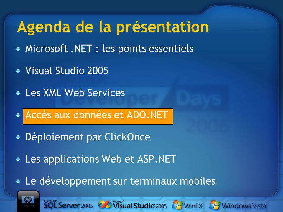 Microsoft.NET : les points essentiels Visual Studio 2005 Les XML Web Services Accès aux données et ADO.NET Déploiement par ClickOnce Les applications