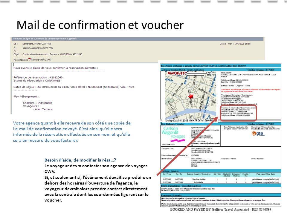 ©CWT Distribution 2011 Mail de confirmation et voucher Votre agence quant à elle recevra de son côté une copie de l'e-mail de confirmation envoyé.