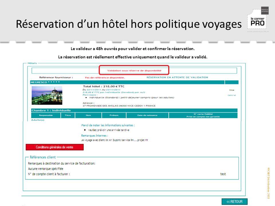 ©CWT Distribution 2011 Réservation d'un hôtel hors politique voyages Le valideur a 48h ouvrés pour valider et confirmer la réservation.