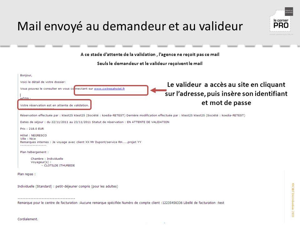 ©CWT Distribution 2011 Mail envoyé au demandeur et au valideur A ce stade d'attente de la validation, l'agence ne reçoit pas ce mail Seuls le demandeur et le valideur reçoivent le mail Le valideur a accès au site en cliquant sur l'adresse, puis insère son identifiant et mot de passe