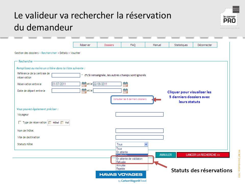 ©CWT Distribution 2011 Le valideur va rechercher la réservation du demandeur Cliquer pour visualiser les 5 derniers dossiers avec leurs statuts Statuts des réservations