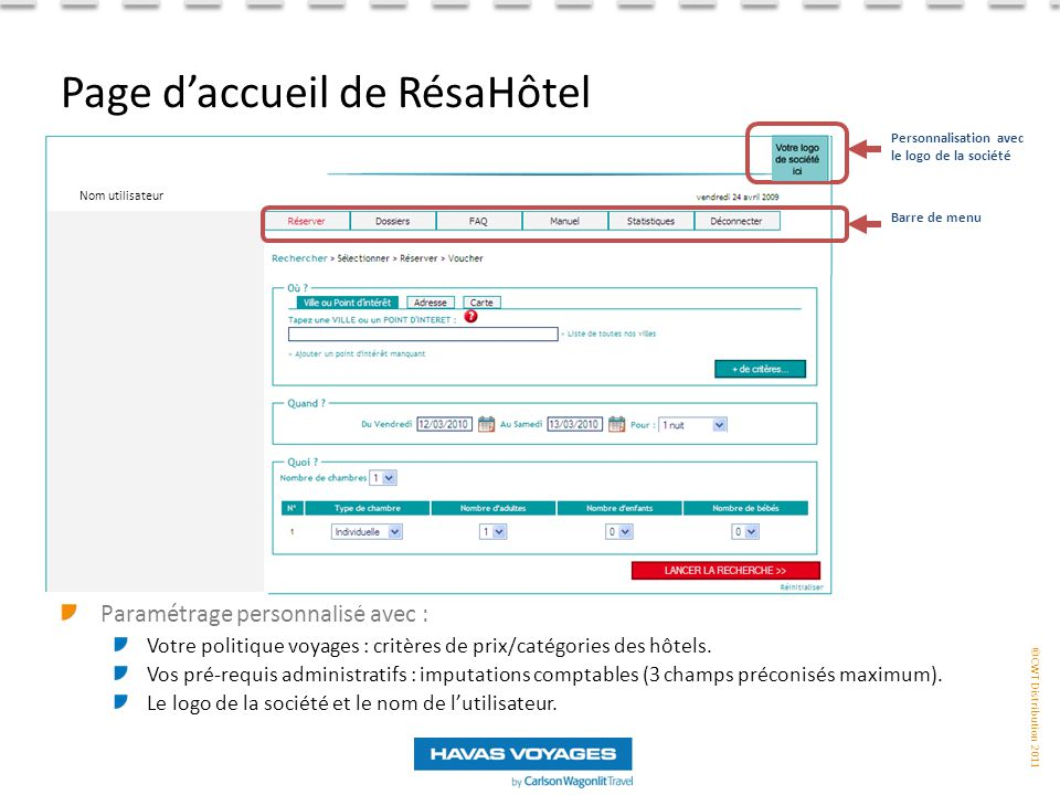 ©CWT Distribution 2011 Paramétrage personnalisé avec : Votre politique voyages : critères de prix/catégories des hôtels.