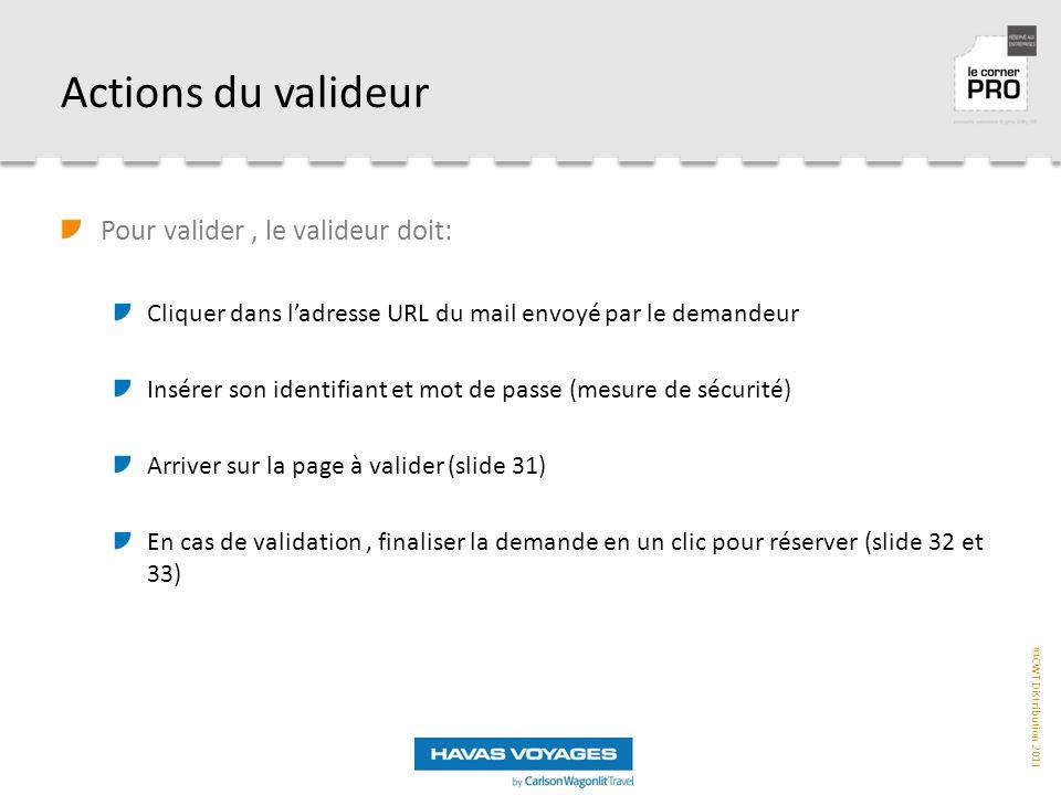 ©CWT Distribution 2011 Actions du valideur Pour valider, le valideur doit: Cliquer dans l'adresse URL du mail envoyé par le demandeur Insérer son identifiant et mot de passe (mesure de sécurité) Arriver sur la page à valider (slide 31) En cas de validation, finaliser la demande en un clic pour réserver (slide 32 et 33)