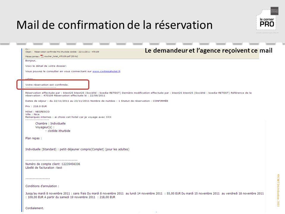 ©CWT Distribution 2011 Mail de confirmation de la réservation Le demandeur et l'agence reçoivent ce mail