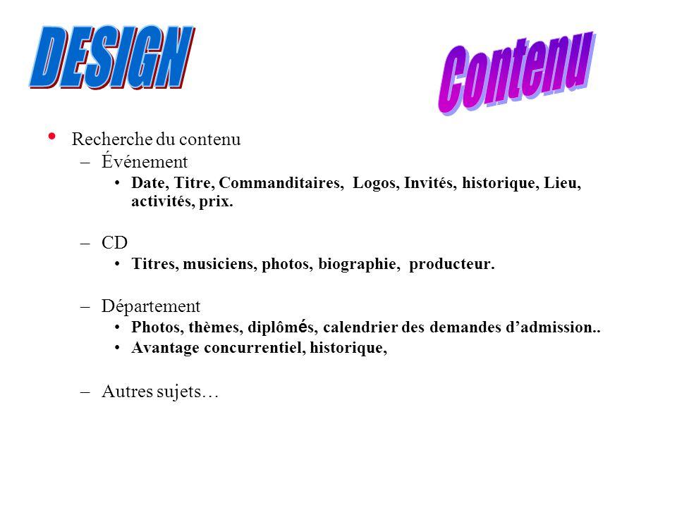 Recherche du contenu –Événement Date, Titre, Commanditaires, Logos, Invités, historique, Lieu, activités, prix.