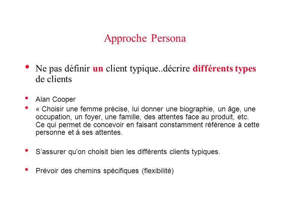 Approche Persona Ne pas définir un client typique..décrire différents types de clients Alan Cooper « Choisir une femme précise, lui donner une biographie, un âge, une occupation, un foyer, une famille, des attentes face au produit, etc.