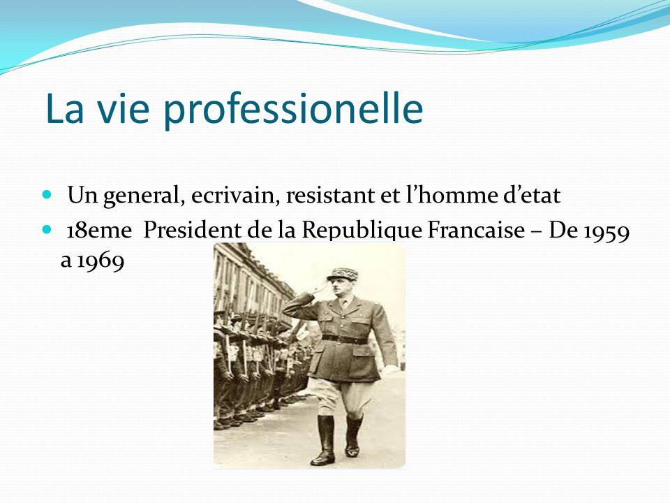 La vie professionelle Un general, ecrivain, resistant et l'homme d'etat 18eme President de la Republique Francaise – De 1959 a 1969