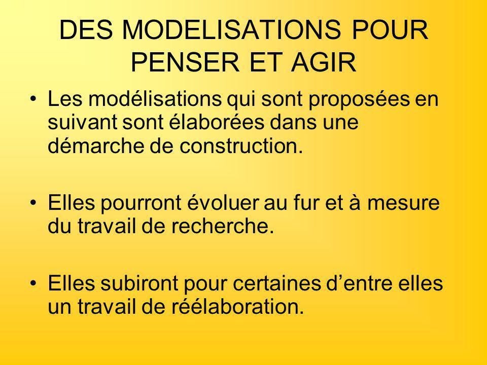DES MODELISATIONS POUR PENSER ET AGIR Les modélisations qui sont proposées en suivant sont élaborées dans une démarche de construction. Elles pourront