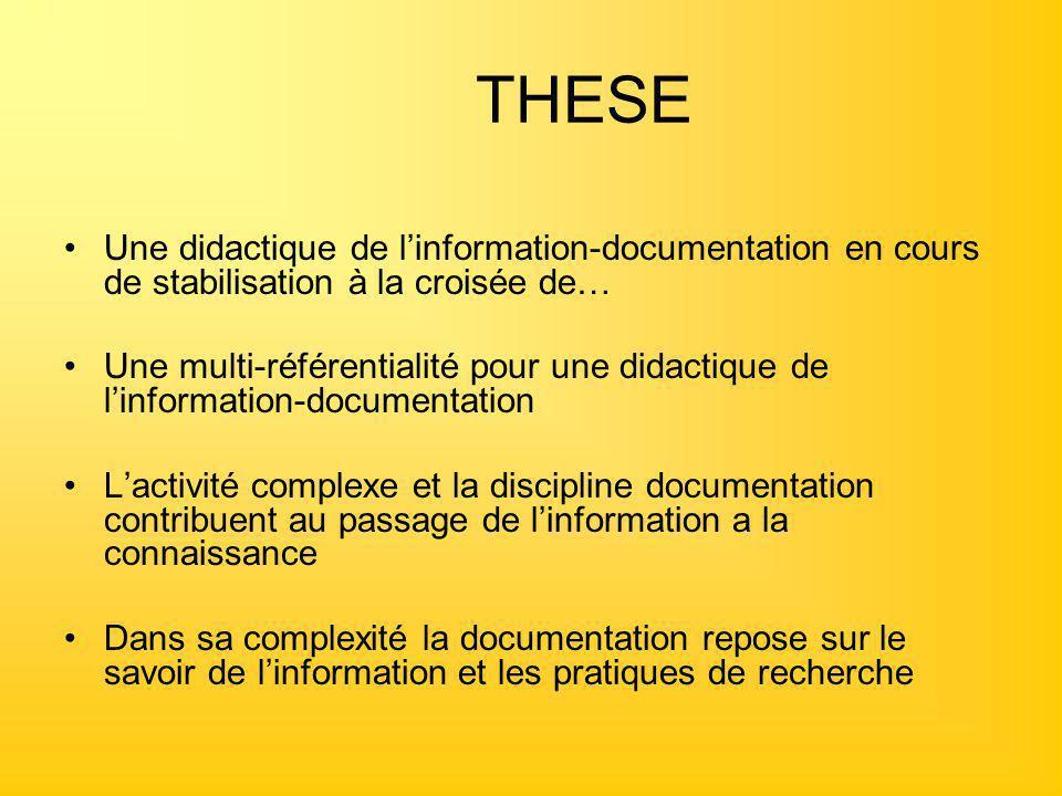 THESE Une didactique de l'information-documentation en cours de stabilisation à la croisée de… Une multi-référentialité pour une didactique de l'infor