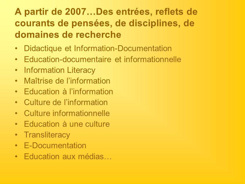 A partir de 2007…Des entrées, reflets de courants de pensées, de disciplines, de domaines de recherche Didactique et Information-Documentation Educati