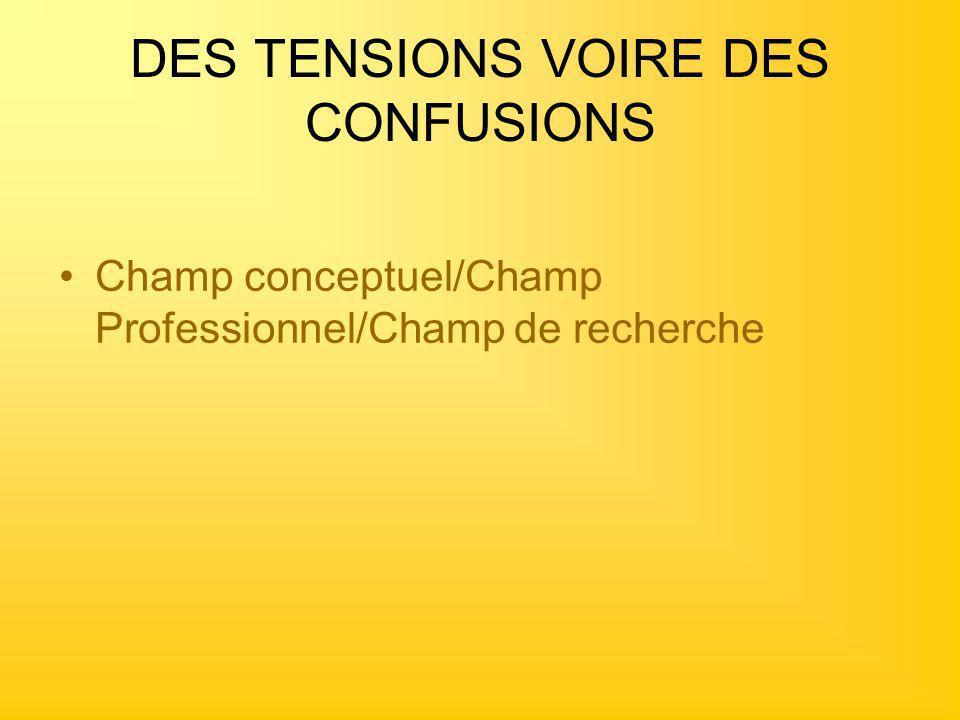 DES TENSIONS VOIRE DES CONFUSIONS Champ conceptuel/Champ Professionnel/Champ de recherche