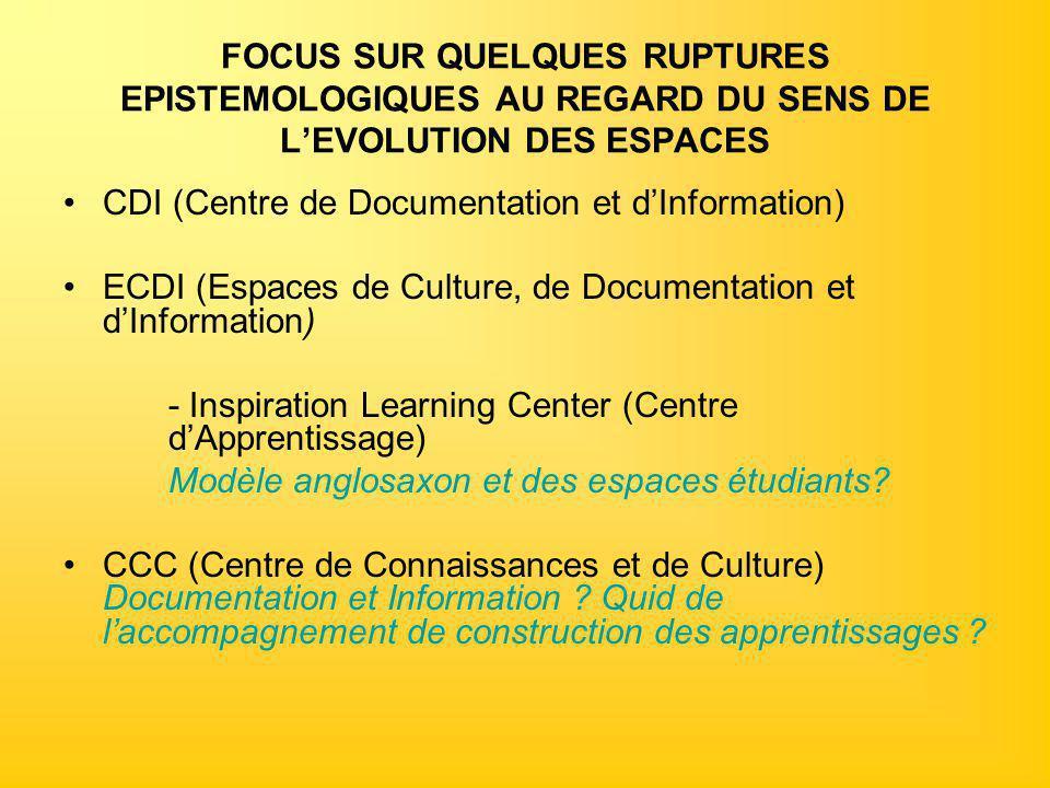 FOCUS SUR QUELQUES RUPTURES EPISTEMOLOGIQUES AU REGARD DU SENS DE L'EVOLUTION DES ESPACES CDI (Centre de Documentation et d'Information) ECDI (Espaces