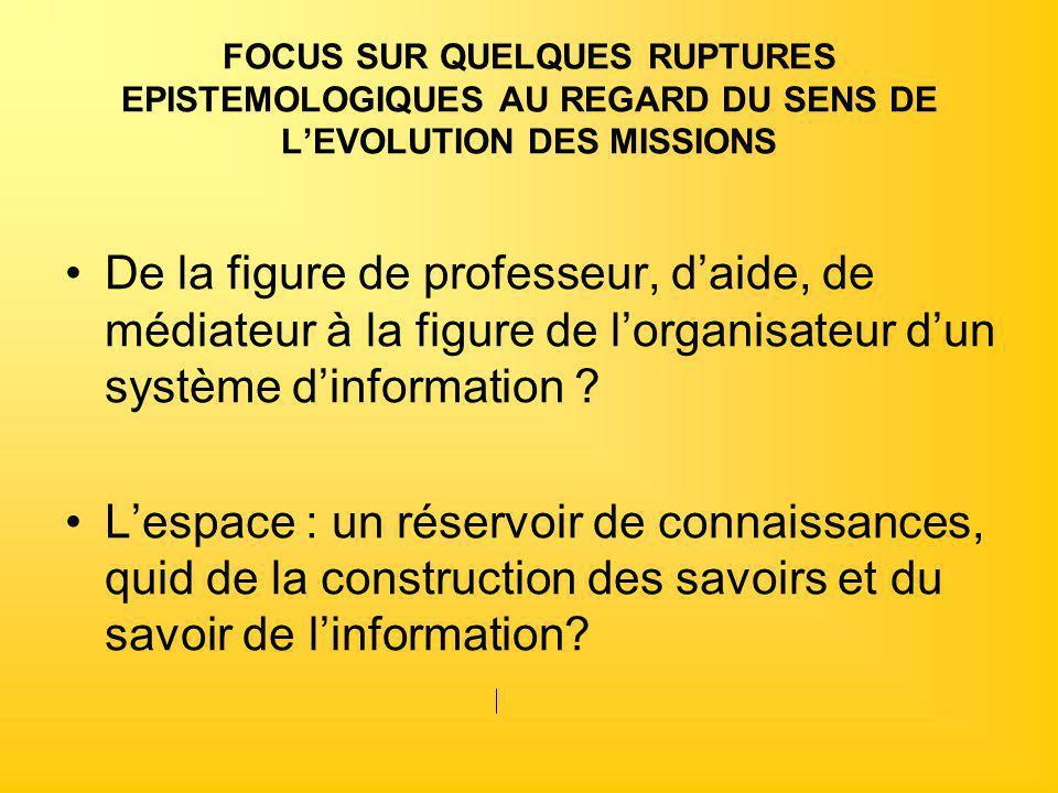 FOCUS SUR QUELQUES RUPTURES EPISTEMOLOGIQUES AU REGARD DU SENS DE L'EVOLUTION DES MISSIONS De la figure de professeur, d'aide, de médiateur à la figur