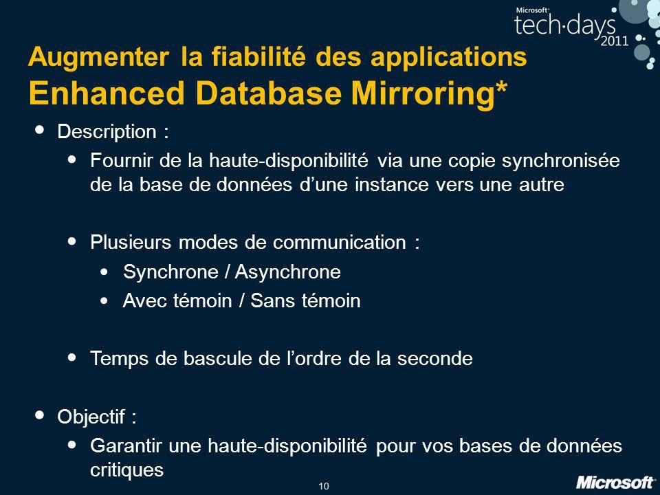 10 Augmenter la fiabilité des applications Enhanced Database Mirroring* Description : Fournir de la haute-disponibilité via une copie synchronisée de