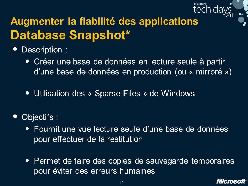 12 Augmenter la fiabilité des applications Database Snapshot* Description : Créer une base de données en lecture seule à partir d'une base de données